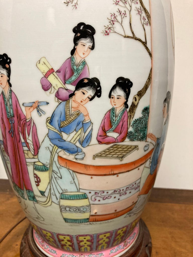 Pair Chinese Famille Rose Rouleau Vase Lamps For Sale 11
