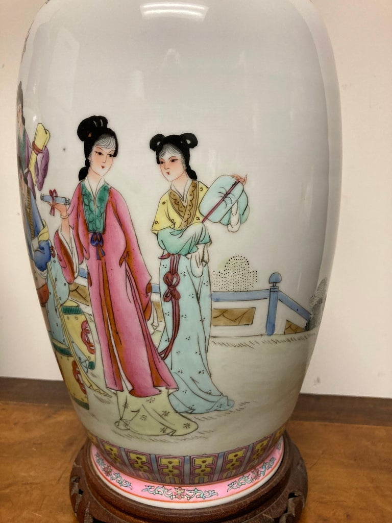 Pair Chinese Famille Rose Rouleau Vase Lamps In Good Condition For Sale In Stamford, CT