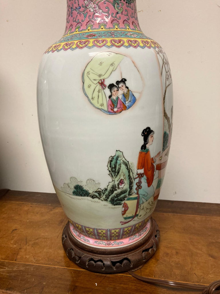 Pair Chinese Famille Rose Rouleau Vase Lamps For Sale 2