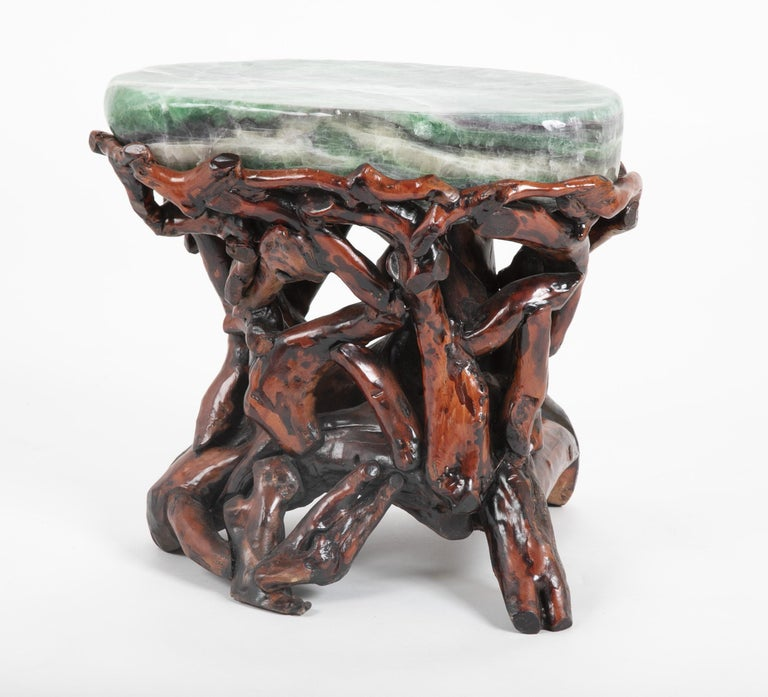 Pair of Chinese fluorite root stools. Mid-20th century.