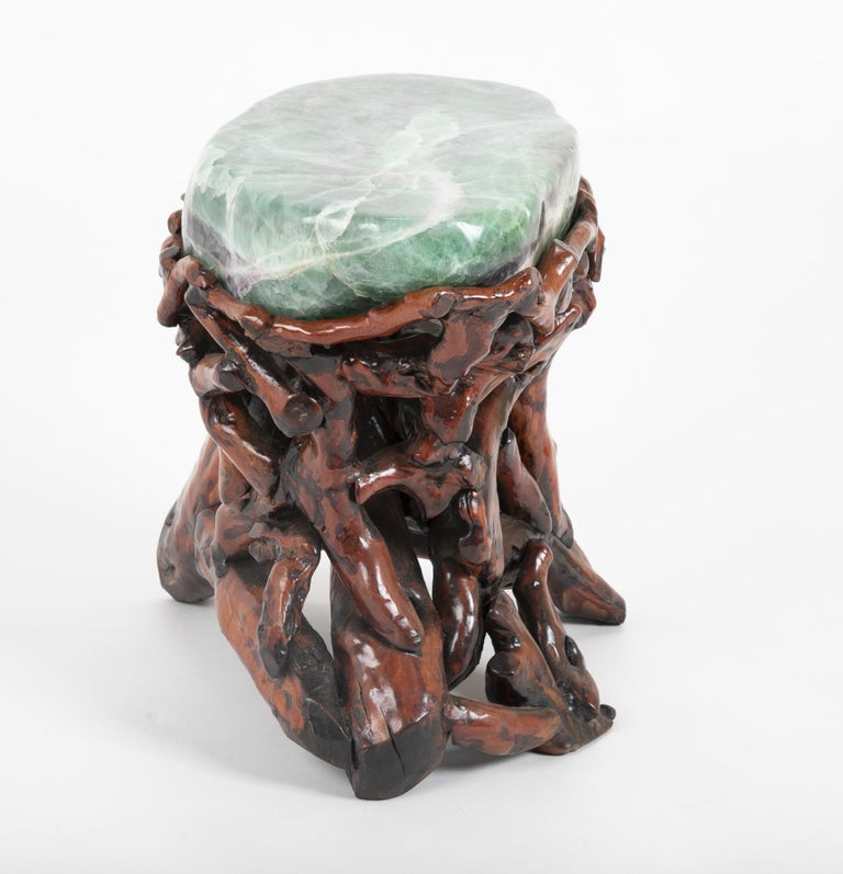 Stone Pair of Chinese Fluorite Root Stools For Sale