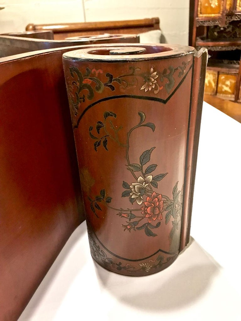 19th Century Pair Chinese Lacquered Scroll-End Stands, Late 19th-Early 20th Centurya For Sale