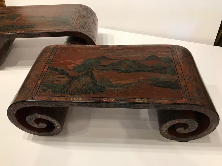 Pair Chinese Lacquered Scroll-End Stands, Late 19th-Early 20th Centurya For Sale 1