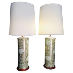 Pair of Chinese Porcelain China Roller Vases in Table Lamps Chrysantemum Theme