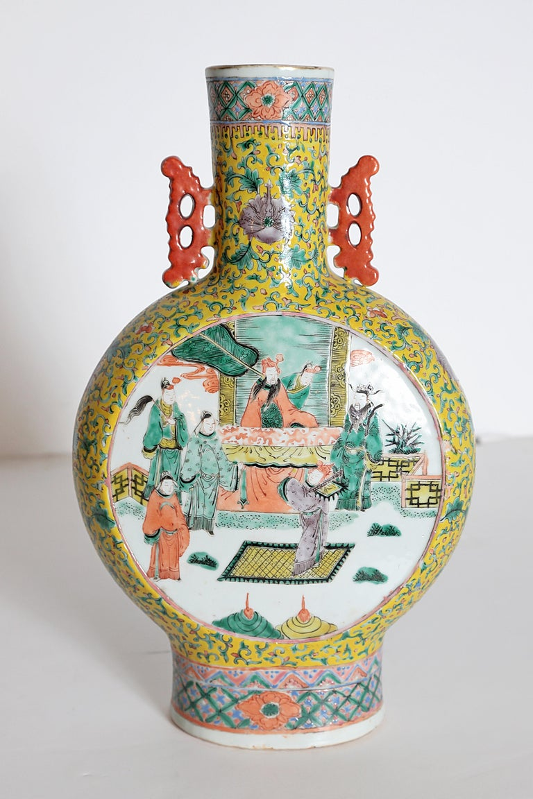 Pair of Chinese Porcelain Moon Flask Vases For Sale 6