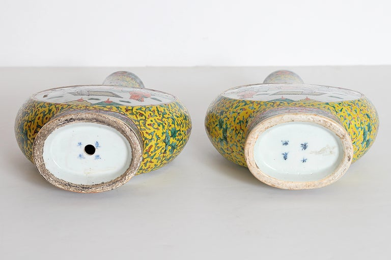 Pair of Chinese Porcelain Moon Flask Vases For Sale 10