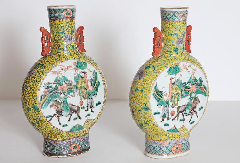 Hand-Painted Pair of Chinese Porcelain Moon Flask Vases For Sale