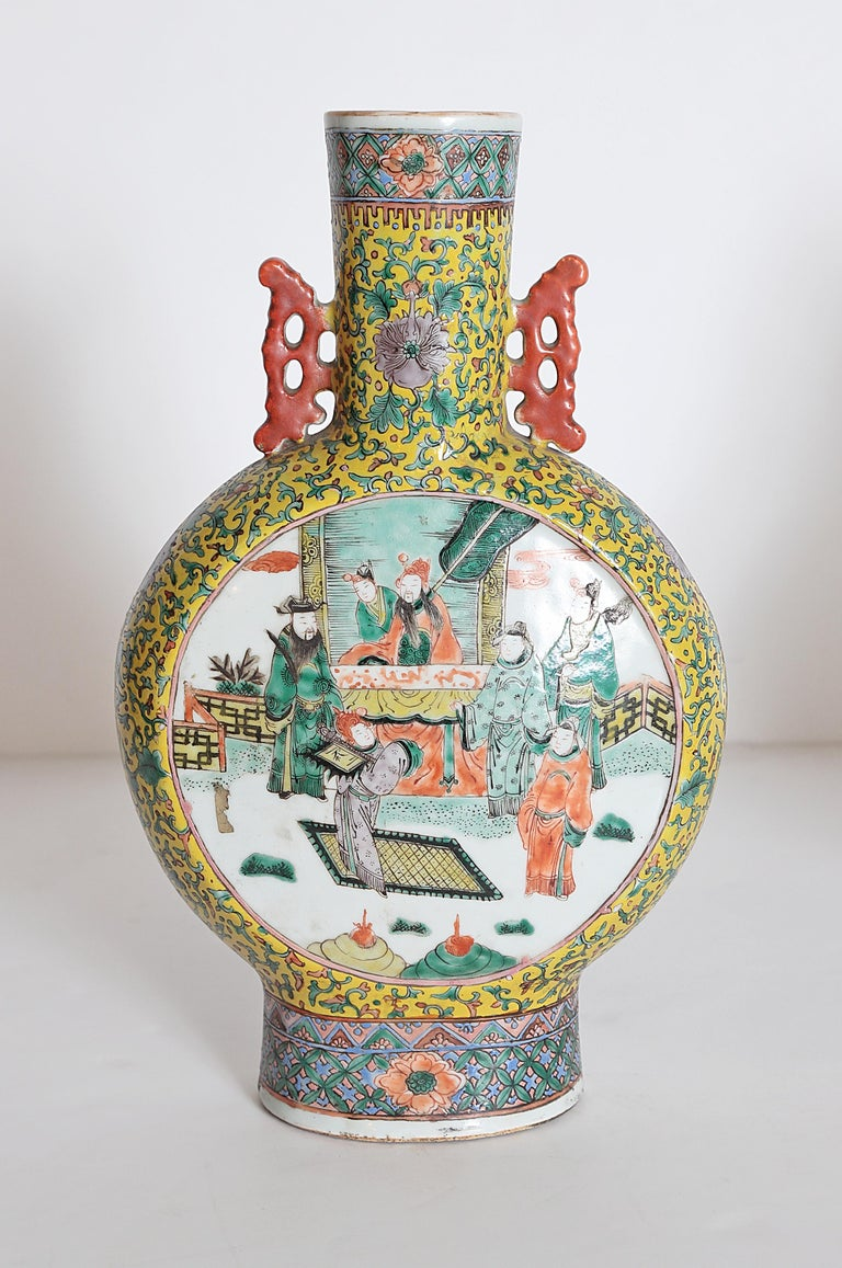 Pair of Chinese Porcelain Moon Flask Vases For Sale 2