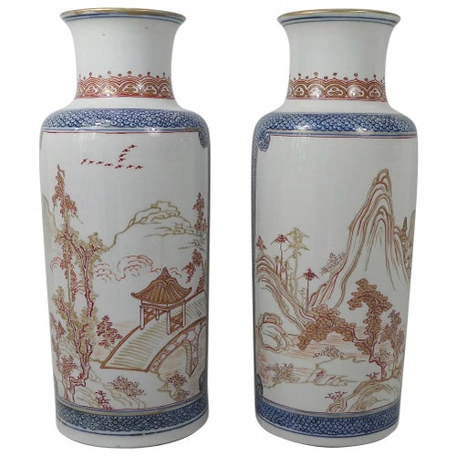 Pair of Chinese Porcelain 'Rouge de Fer' and Blue Decorated Vases, circa 1920s