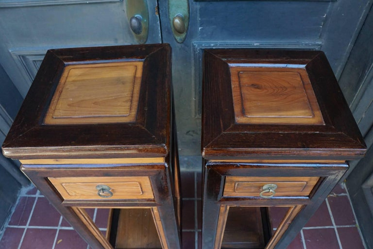 20th Century Pair of Chinese Provincial Elm and Lacquer Late 19th Century Stands For Sale