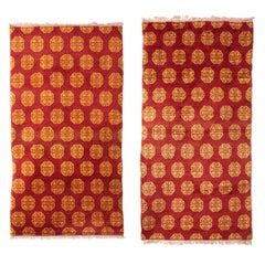 Pair of Chinese Red Geometric Design Rugs, circa 1930