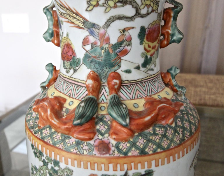 Pair of Chinese Rose Canton Peacocks Porcelain Vase Table Lamps For Sale 7