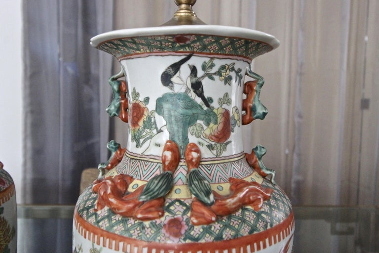 Pair of Chinese Rose Canton Peacocks Porcelain Vase Table Lamps For Sale 9