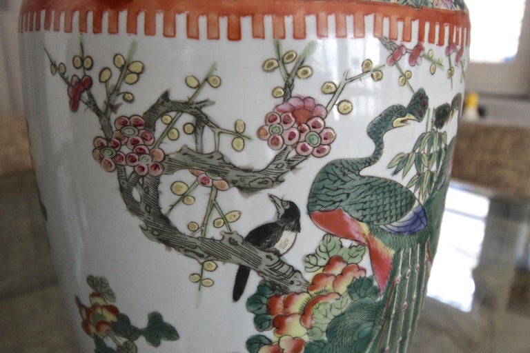 Pair of Chinese Rose Canton Peacocks Porcelain Vase Table Lamps For Sale 12