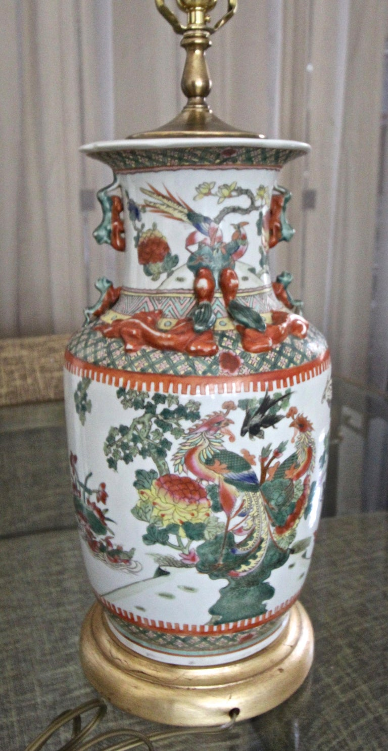 Pair of Chinese Rose Canton Peacocks Porcelain Vase Table Lamps For Sale 13