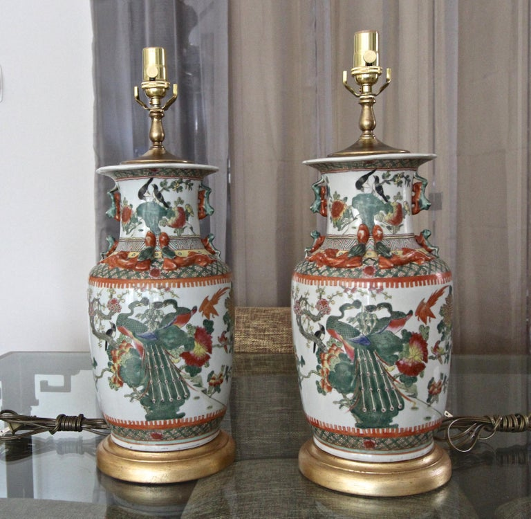 Brass Pair of Chinese Rose Canton Peacocks Porcelain Vase Table Lamps For Sale