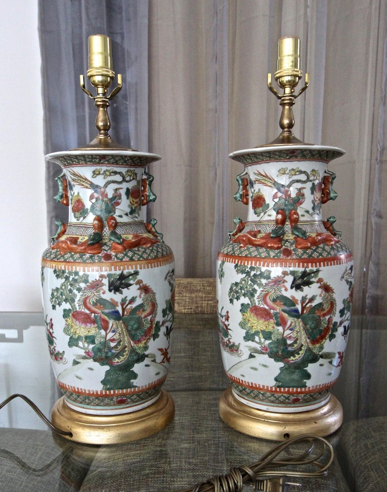 Pair of Chinese Rose Canton Peacocks Porcelain Vase Table Lamps For Sale 1