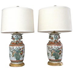 Pair of Chinese Rose Canton Peacocks Porcelain Vase Table Lamps
