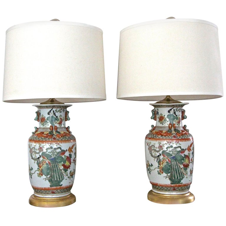 Pair of Chinese Rose Canton Peacocks Porcelain Vase Table Lamps For Sale
