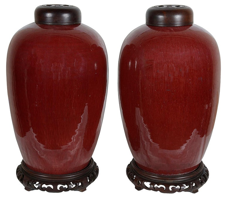 Hand-Painted Pair of Chinese Sang Du Bouf lidded vases, circa 1890 For Sale