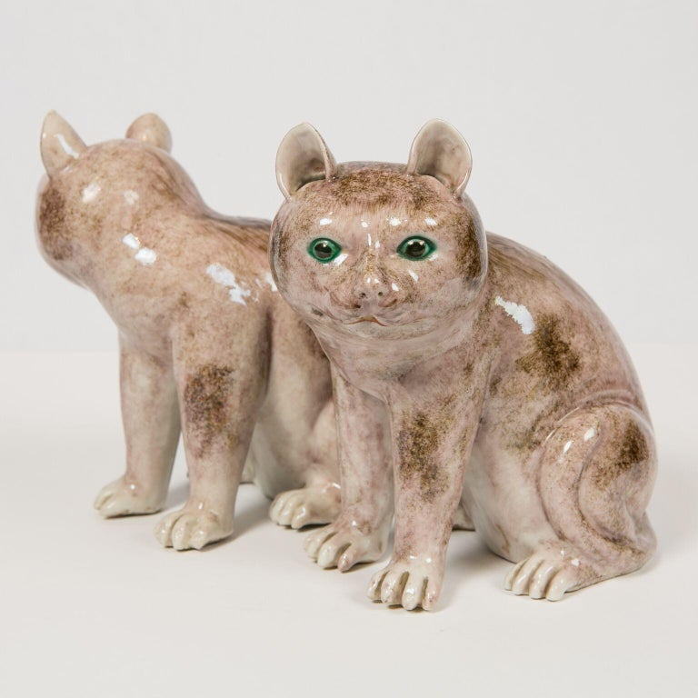Pair of Chinese Stoneware Cats Qing Dynasty 19th Century For Sale 3