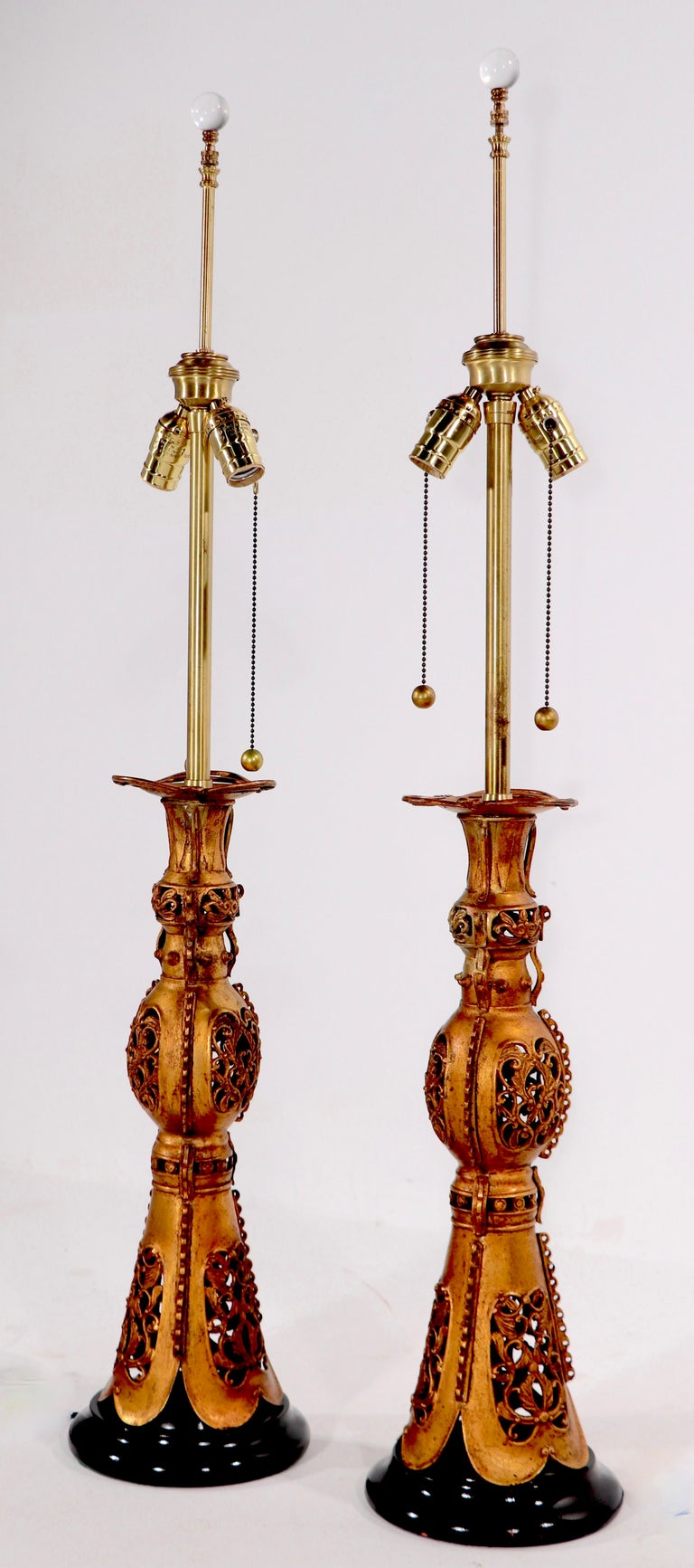 Pair Chinese Style Table Lamps by Marbro After James Mont In Good Condition For Sale In New York, NY