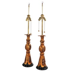 Pair Chinese Style Table Lamps by Marbro After James Mont