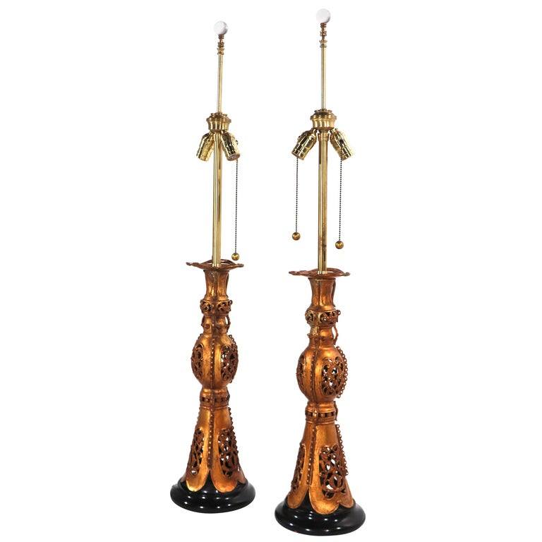 Pair Chinese Style Table Lamps by Marbro After James Mont For Sale