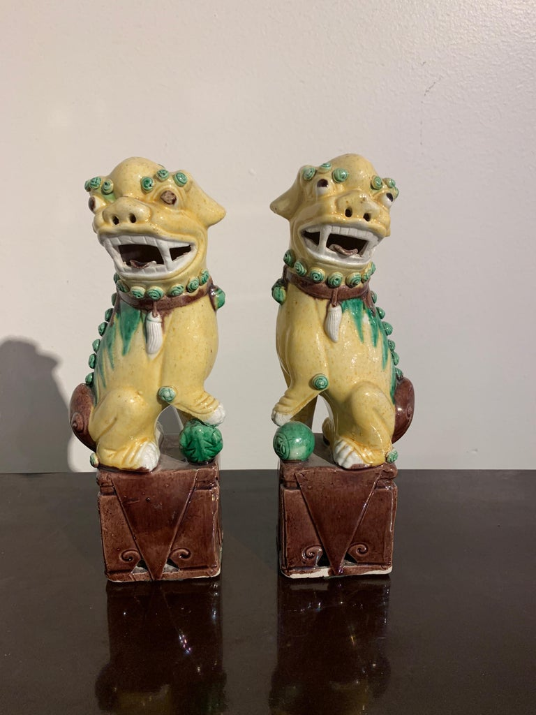 A fun and whimsical pair of Chinese porcelain foo dogs in yellow, green and purple brown glazes, Republic Period, circa 1920s. 