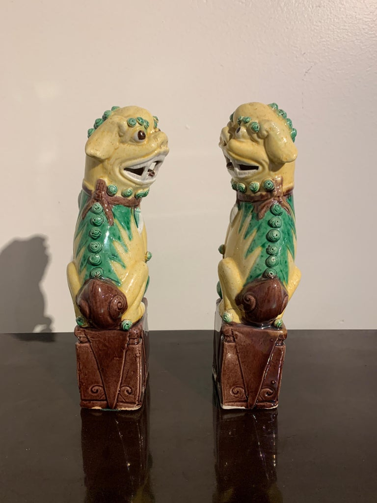 Pair of Chinese Yellow Glazed Foo Dogs, Republic Period, Early 20th Century In Good Condition In Austin, TX