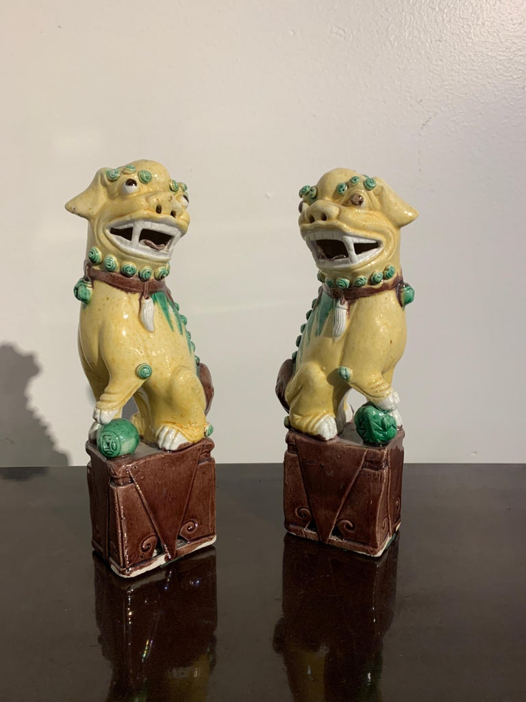 Porcelain Pair of Chinese Yellow Glazed Foo Dogs, Republic Period, Early 20th Century