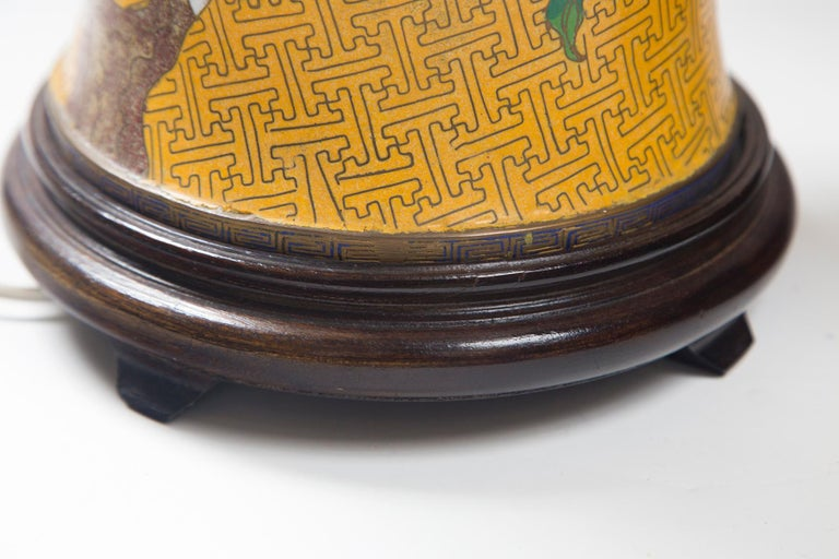 Pair of Chinese Yellow Ground Cloisonne Lamps In Good Condition For Sale In Woodbury, CT
