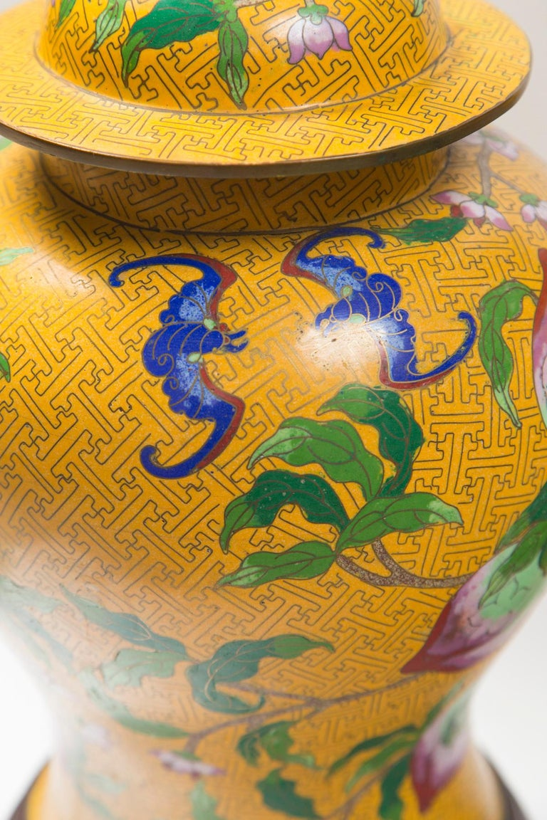 19th Century Pair of Chinese Yellow Ground Cloisonne Lamps For Sale