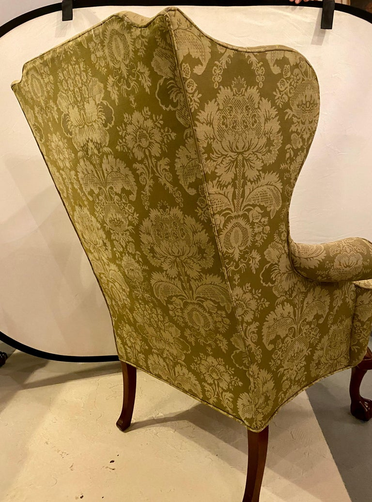 Chippendale Ball and Claw Wingback Chairs with Fine Scalamandre Upholstery, Pair For Sale 4