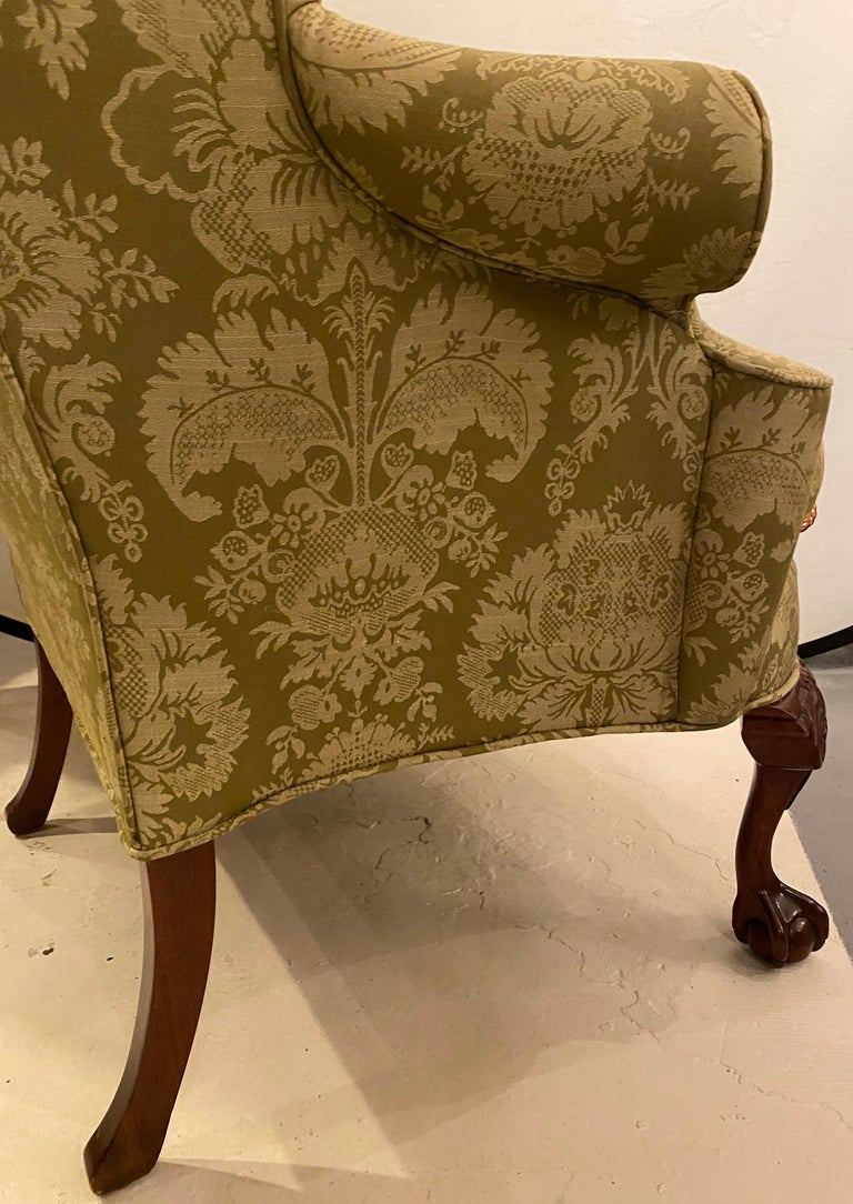 Chippendale Ball and Claw Wingback Chairs with Fine Scalamandre Upholstery, Pair For Sale 5