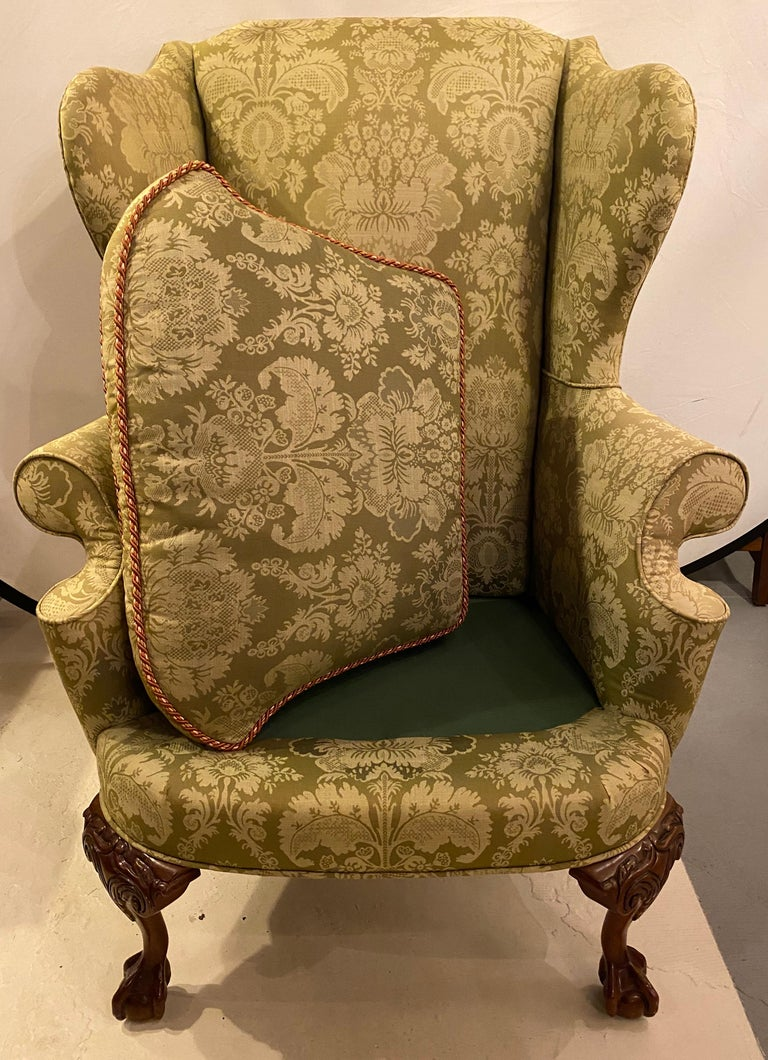 Chippendale Ball and Claw Wingback Chairs with Fine Scalamandre Upholstery, Pair For Sale 6