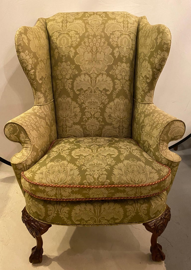 Carved Chippendale Ball and Claw Wingback Chairs with Fine Scalamandre Upholstery, Pair For Sale