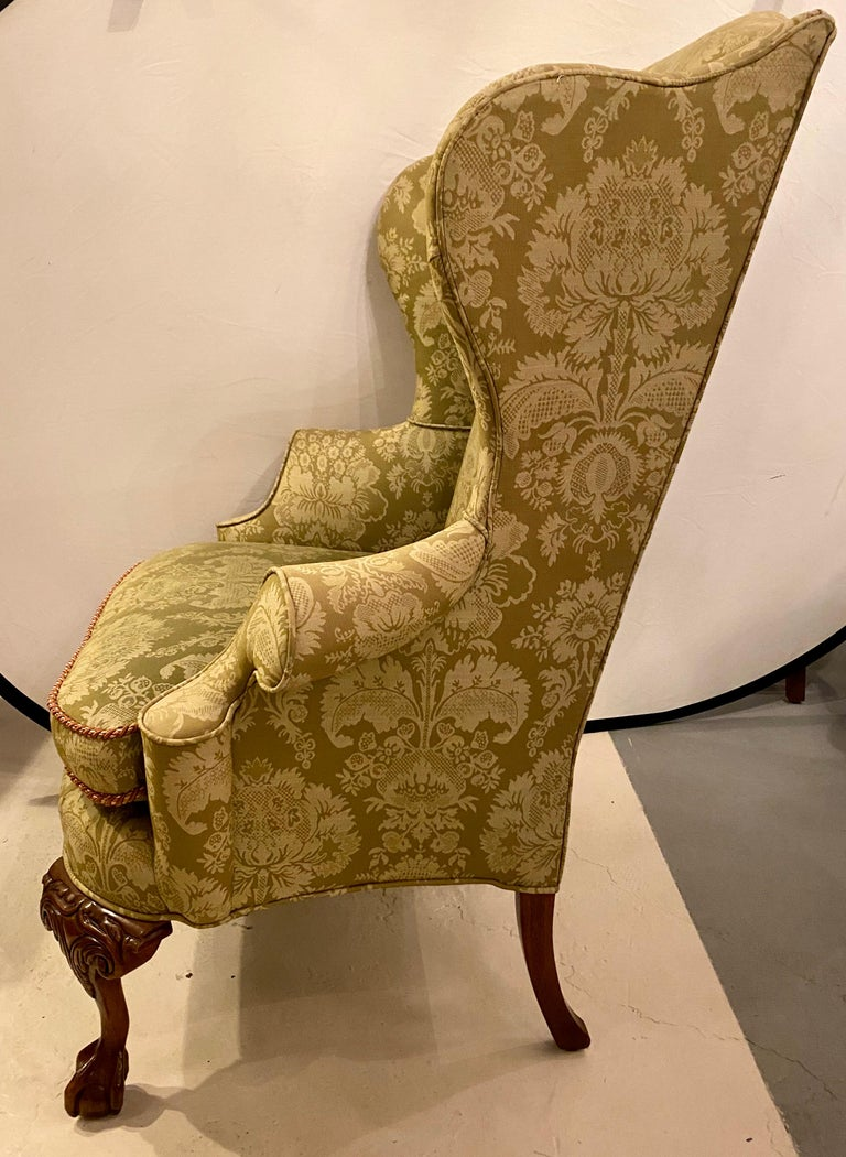 Chippendale Ball and Claw Wingback Chairs with Fine Scalamandre Upholstery, Pair In Good Condition For Sale In Stamford, CT