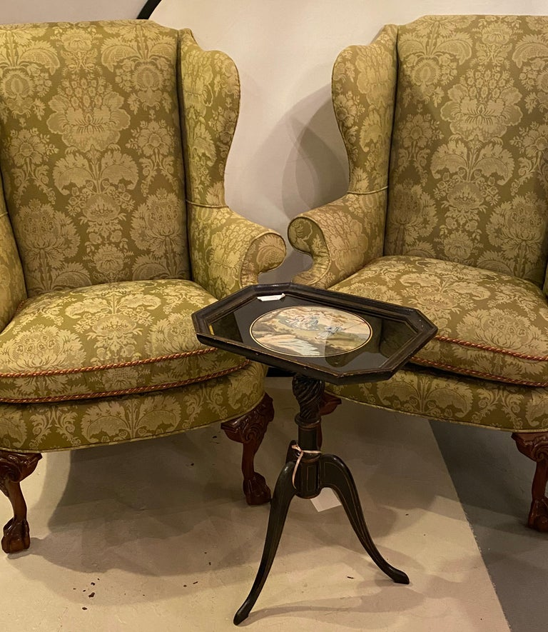 20th Century Chippendale Ball and Claw Wingback Chairs with Fine Scalamandre Upholstery, Pair For Sale