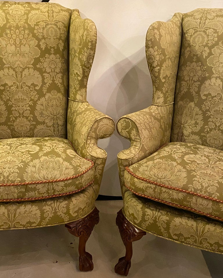 Mahogany Chippendale Ball and Claw Wingback Chairs with Fine Scalamandre Upholstery, Pair For Sale
