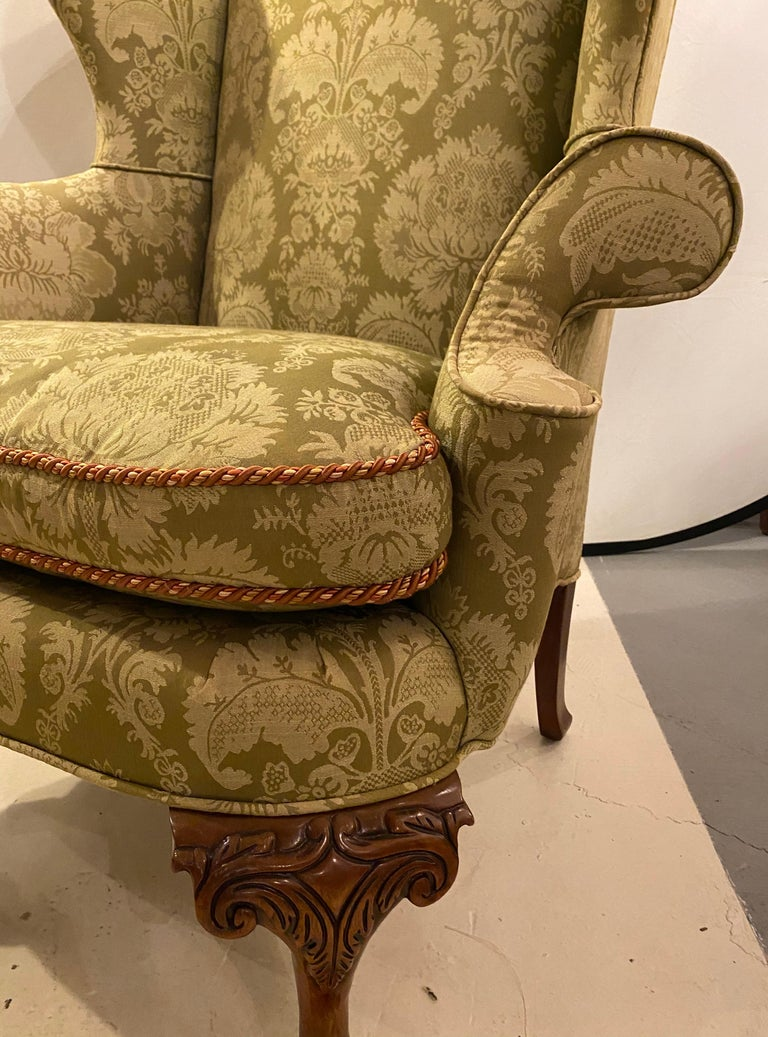 Chippendale Ball and Claw Wingback Chairs with Fine Scalamandre Upholstery, Pair For Sale 2