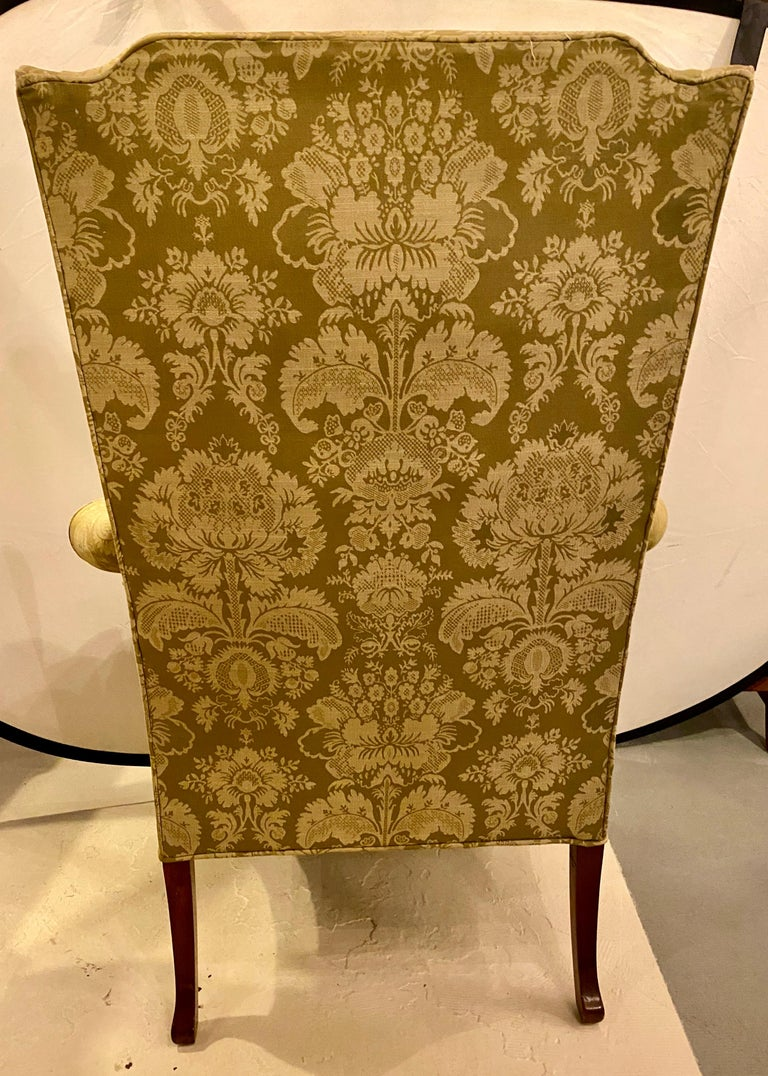 Chippendale Ball and Claw Wingback Chairs with Fine Scalamandre Upholstery, Pair For Sale 3