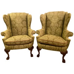 Chippendale Ball and Claw Wingback Chairs with Fine Scalamandre Upholstery, Pair