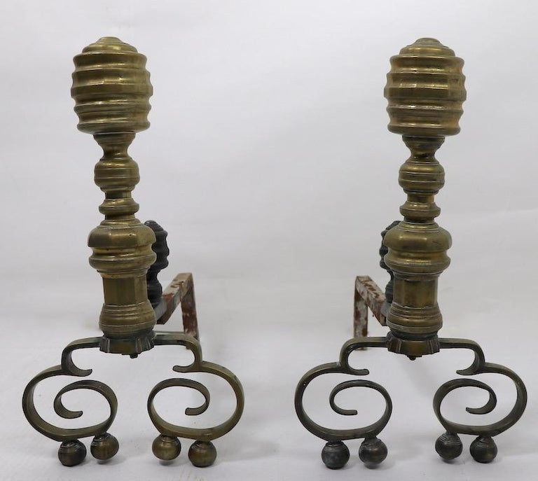 American Pair of Chippendale Revival Andirons with Beehive Tops For Sale