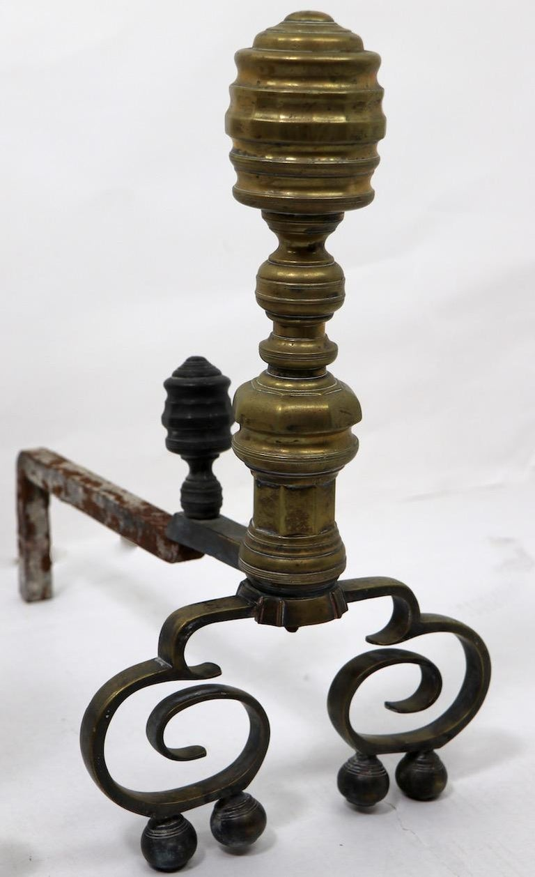 20th Century Pair of Chippendale Revival Andirons with Beehive Tops For Sale