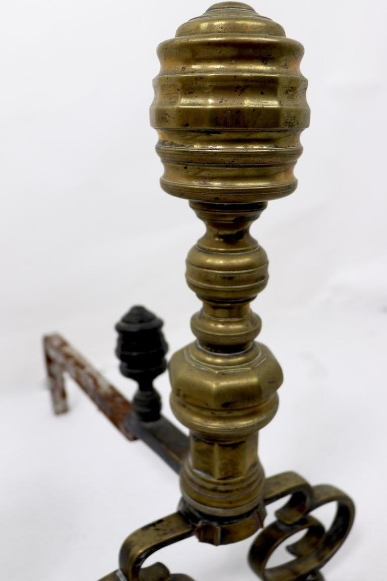 Pair of Chippendale Revival Andirons with Beehive Tops For Sale 2
