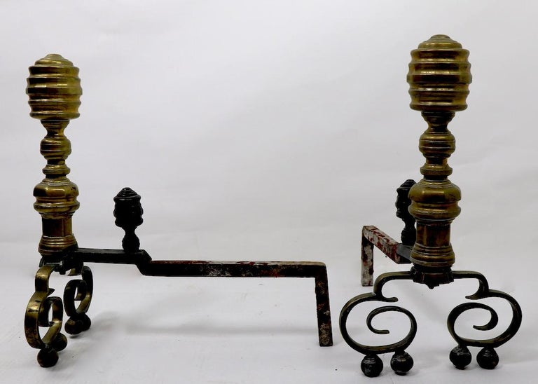 Pair of Chippendale Revival Andirons with Beehive Tops For Sale 3