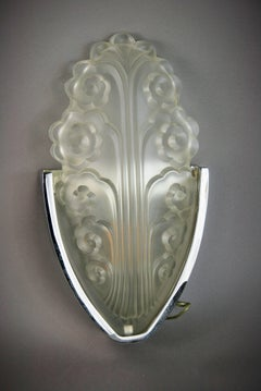 Pair Chrome and Glass Deco Style Sconces
