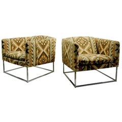Pair Chrome Base Tub Chairs Attributed to Milo Baughman
