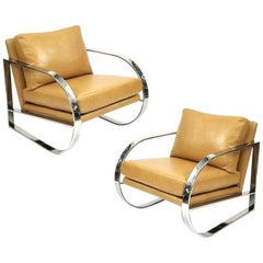 Pair of Chrome Lounge Chairs Designed by John Mascheroni for Swaim Originals